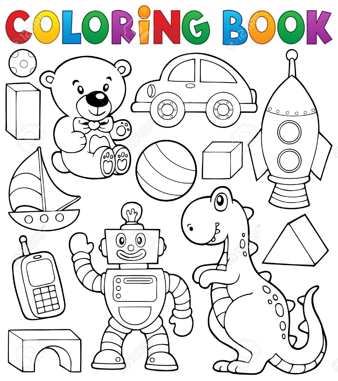 Colouring activities tes - Coloring Book With Toys Thematic Royalty Free Cliparts Vectors