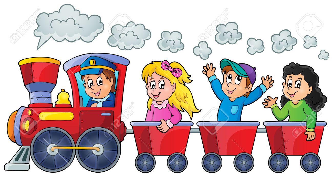 Train with happy kids - 35433169