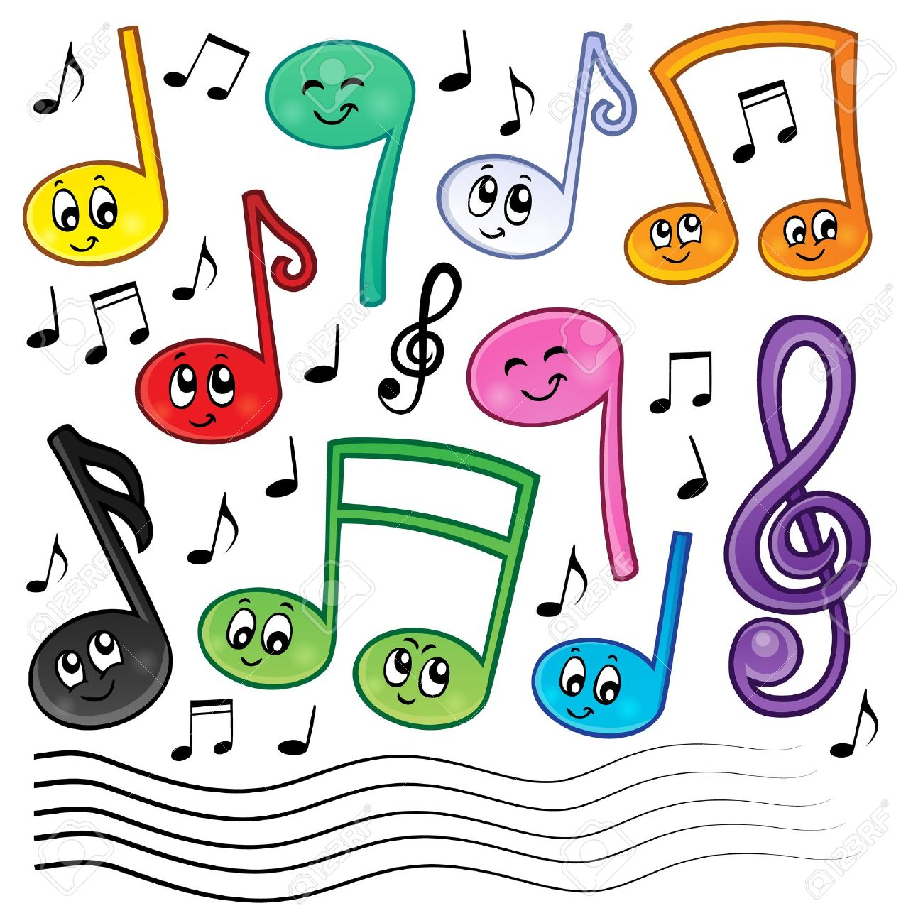 Cartoon Music Notes Theme Image 1 - Eps10 Vector Illustration ...