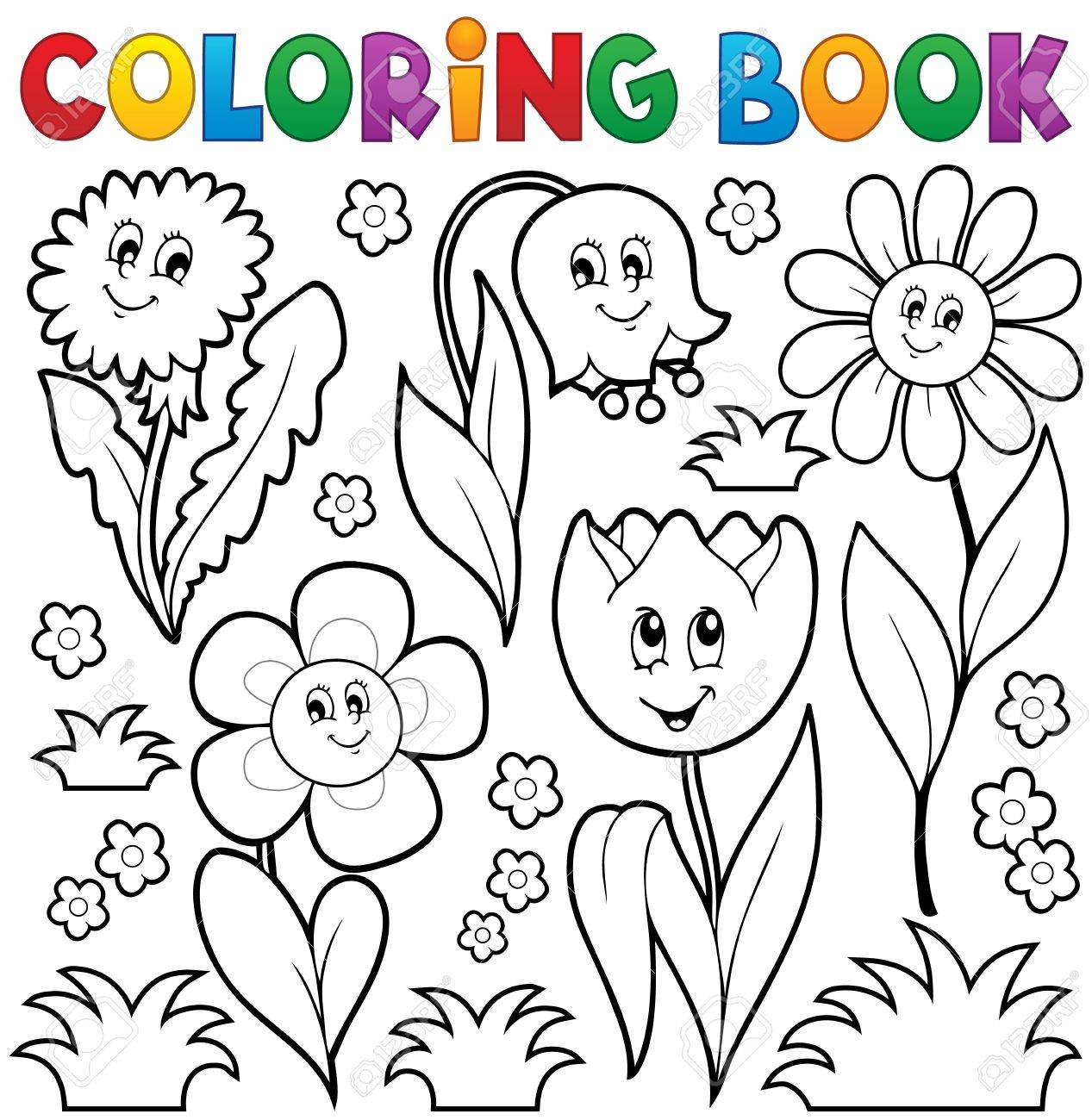- Coloring Book With Flower Theme 6 - Eps10 Vector Illustration