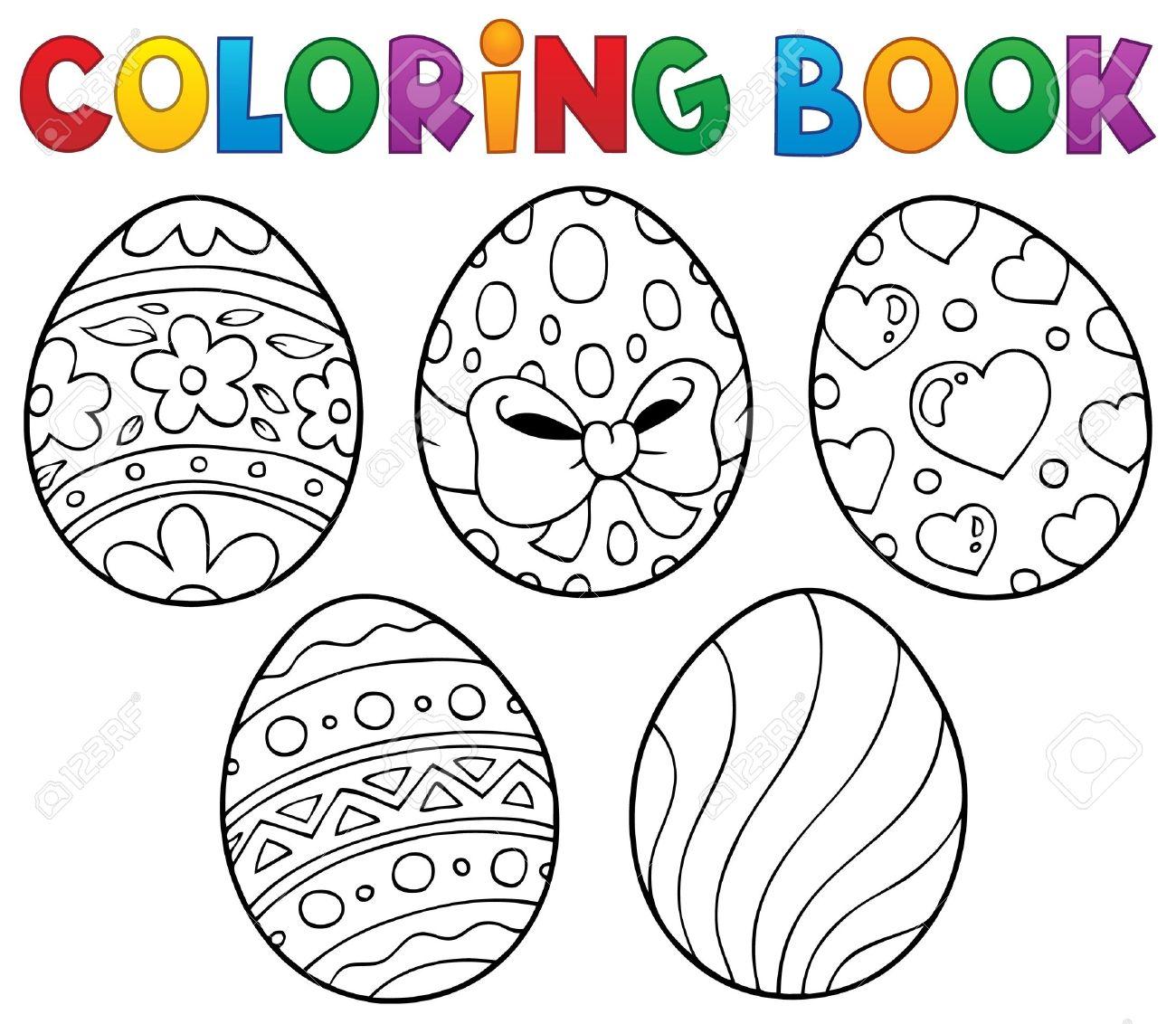Libro Para Colorear Los Huevos De Pascua Tema 1 - Ilustración ...