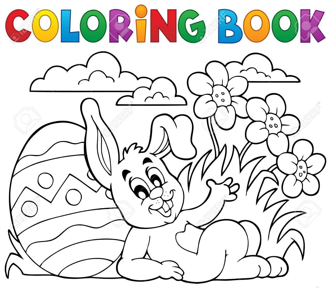 Libro Para Colorear Conejo De Pascua Tema 2 - Ilustración Vectorial ...