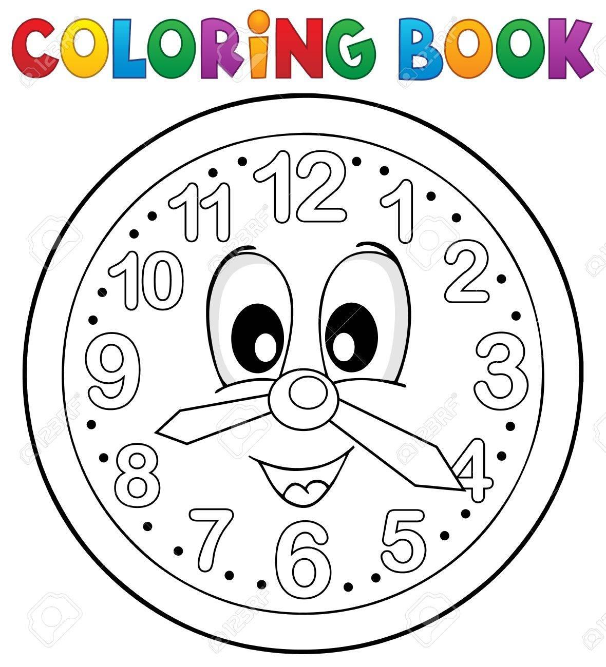 Colorear Reloj Libro El Tema 2 Ilustración Vectorial Eps10