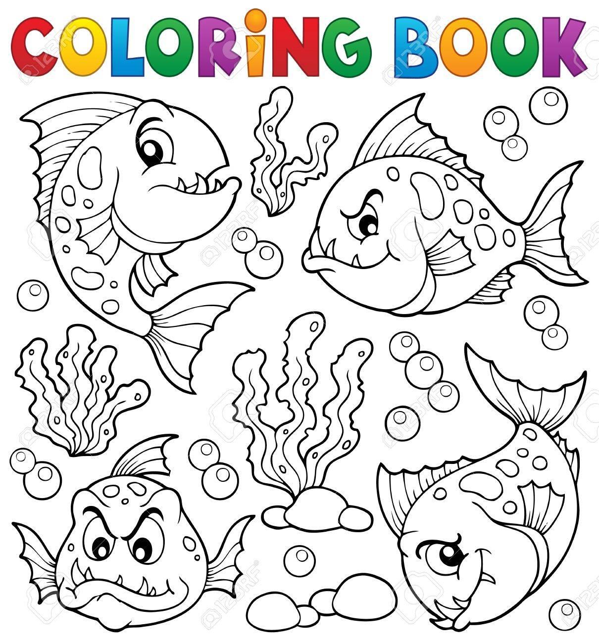 Colorear Peces Pirañas Libro Tema Ilustraciones Vectoriales, Clip ...
