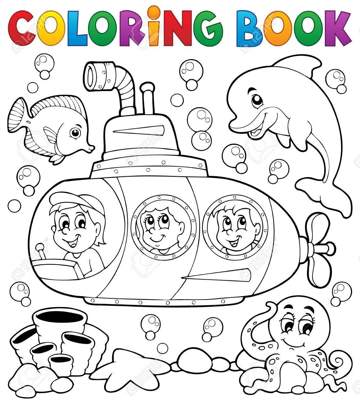 Coloring book submarine theme Stock Vector - 38471330