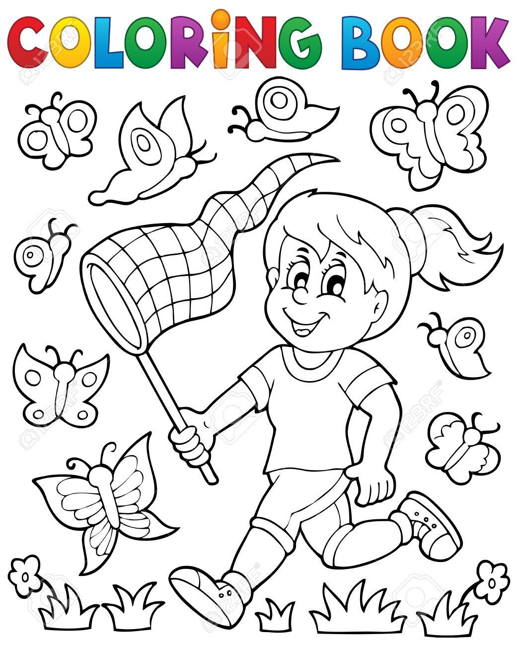 Niña Libro Para Colorear Persiguiendo Mariposas - Ilustración ...
