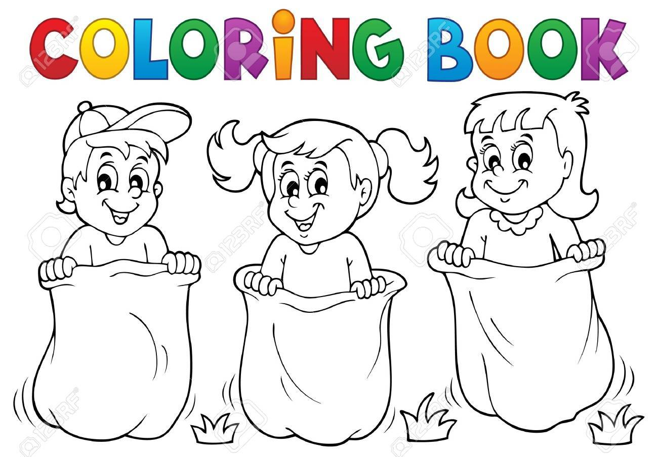 coloring book children playing theme stock vector 40859564