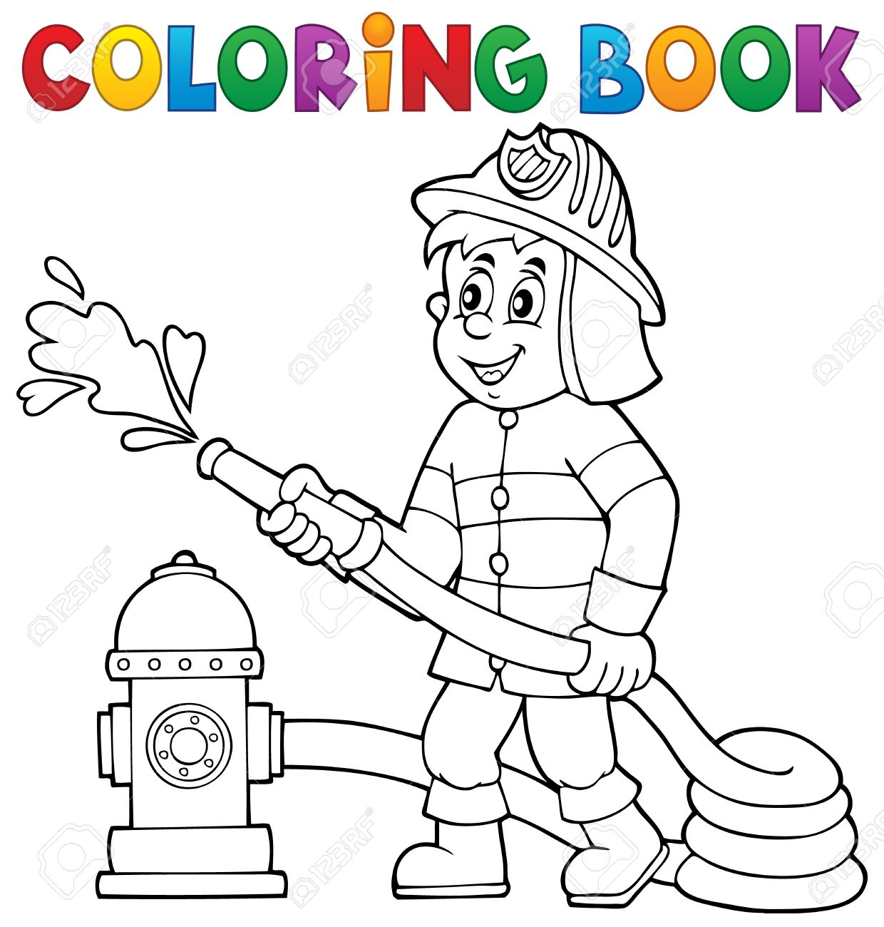 Coloring book firefighter theme