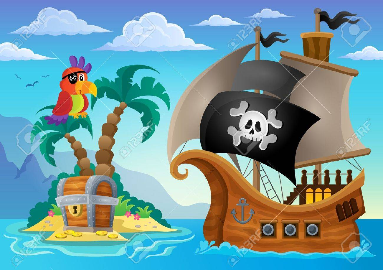 Small pirate island theme 2 - eps10 vector illustration. Stock Vector - 41377349