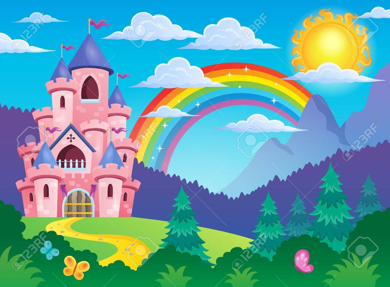 Pink castle theme image 4 - eps10 vector illustration. Stock Vector - 41849140