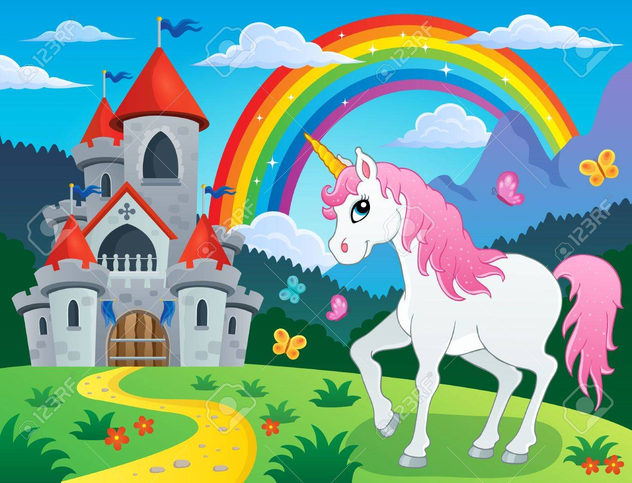 Fairy tale unicorn theme image 4 - eps10 vector illustration. Stock Vector - 41849142