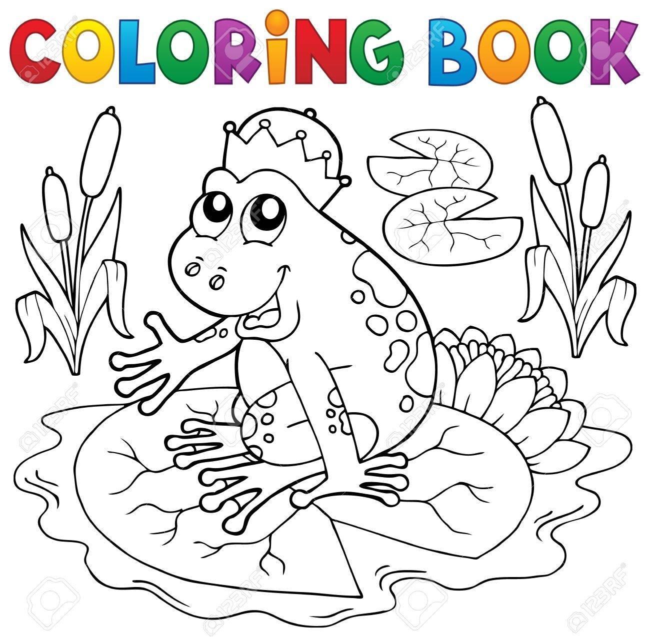 Cuento De Hadas Para Colorear Libro De La Rana - Ilustración ...