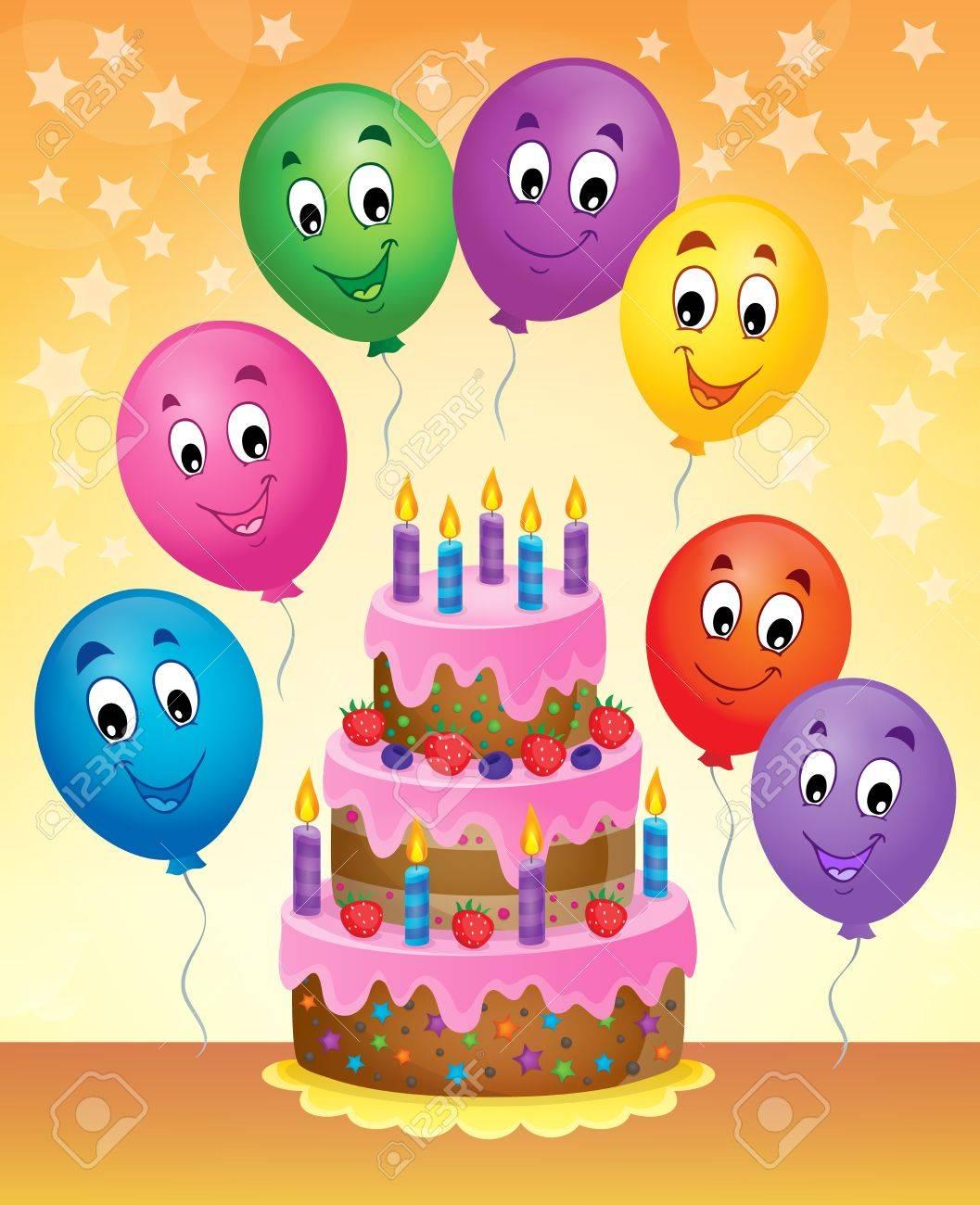 Stupendous Birthday Cake Theme Image 8 Vector Illustration Royalty Free Funny Birthday Cards Online Unhofree Goldxyz