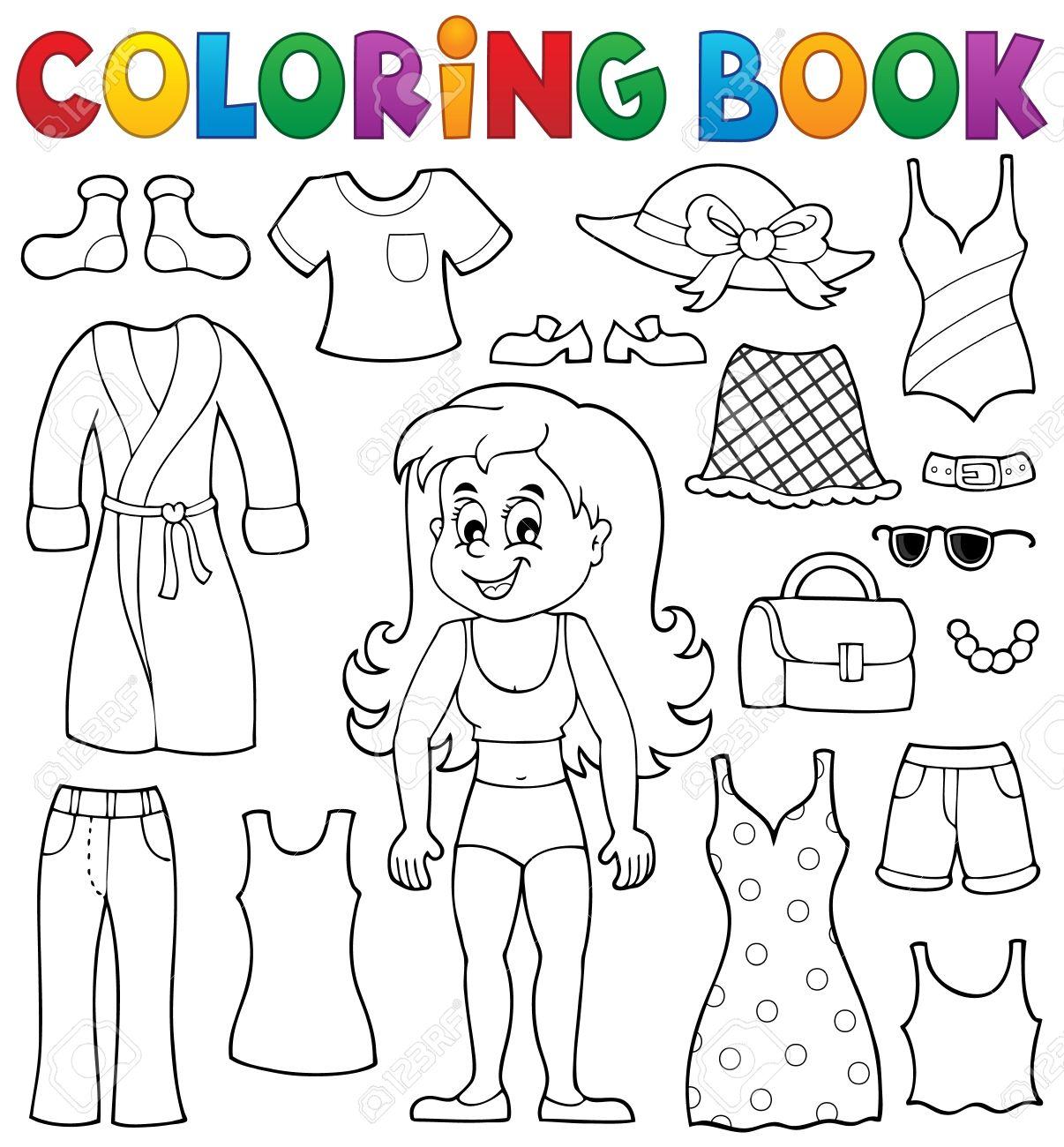 Coloriage Fille Vetements.Livre A Colorier Fille Avec Des Vetements Theme Clip Art Libres De
