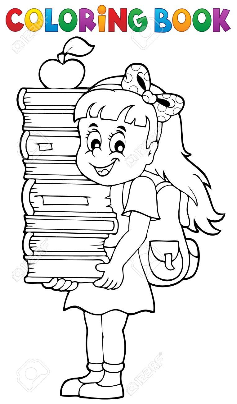 Libro Para Colorear Con Una Niña Cogidos De Libros Ilustraciones ...