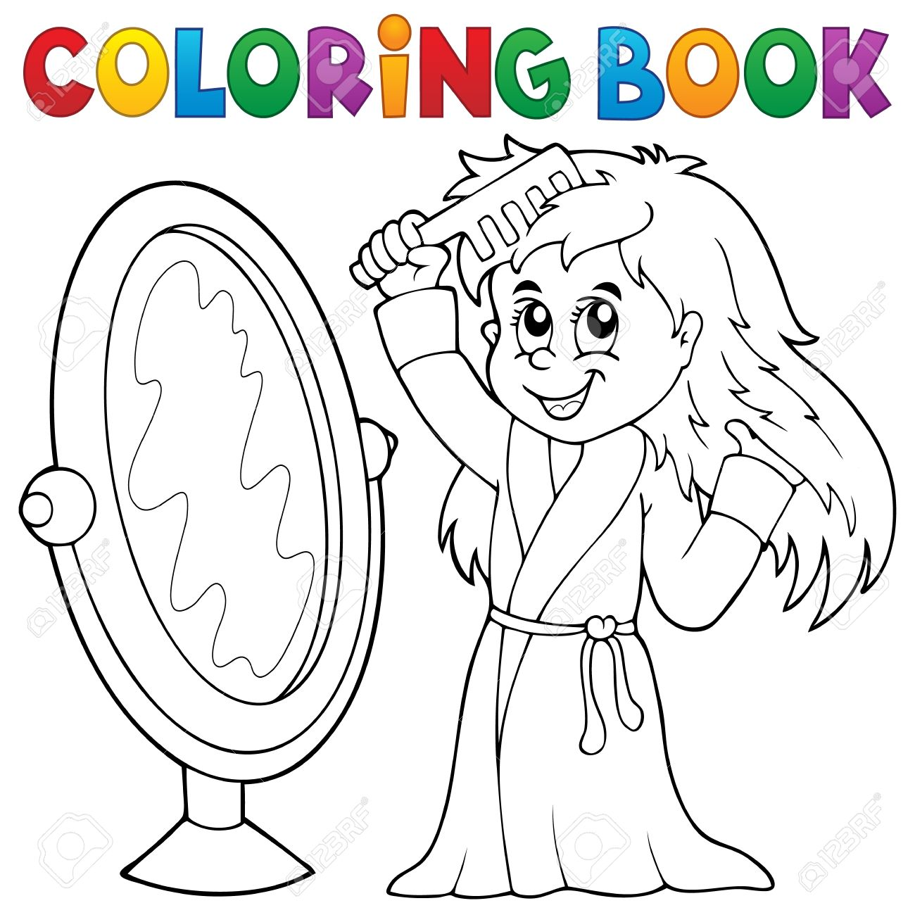 Coloring Book Girl Combing Hair Theme Royalty Free Cliparts, Vectors ...