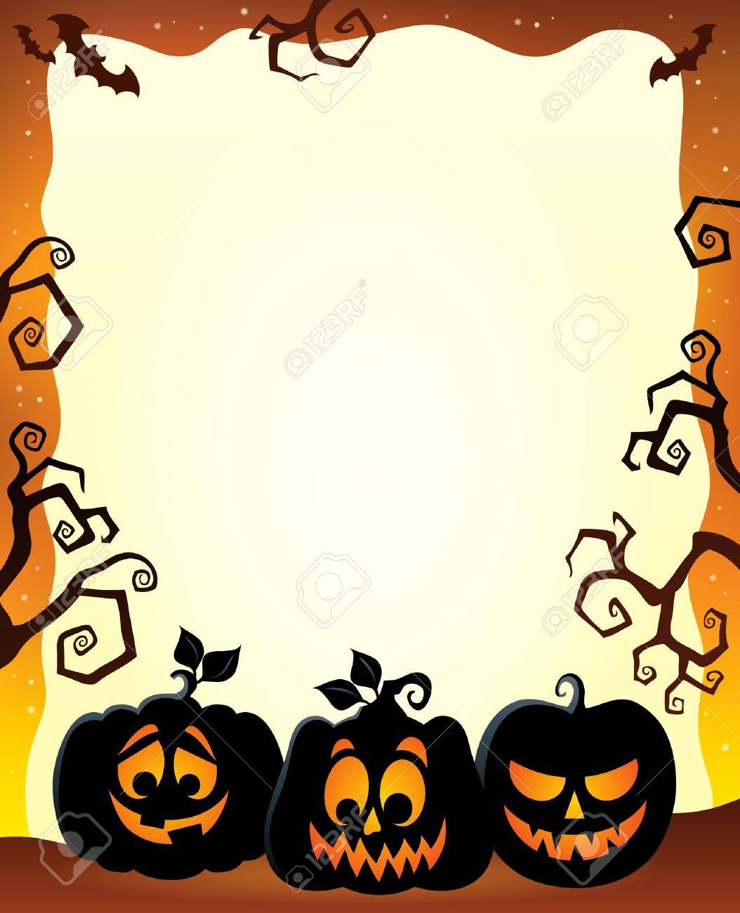 Frame with Halloween pumpkin silhouettes Stock Vector - 44103012