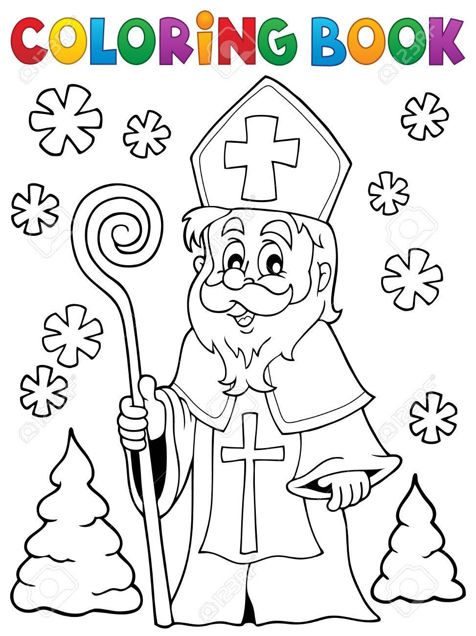 Coloring Book Saint Nicolas Theme 1 Royalty Free Cliparts Vectors And Stock Illustration Image 45606083