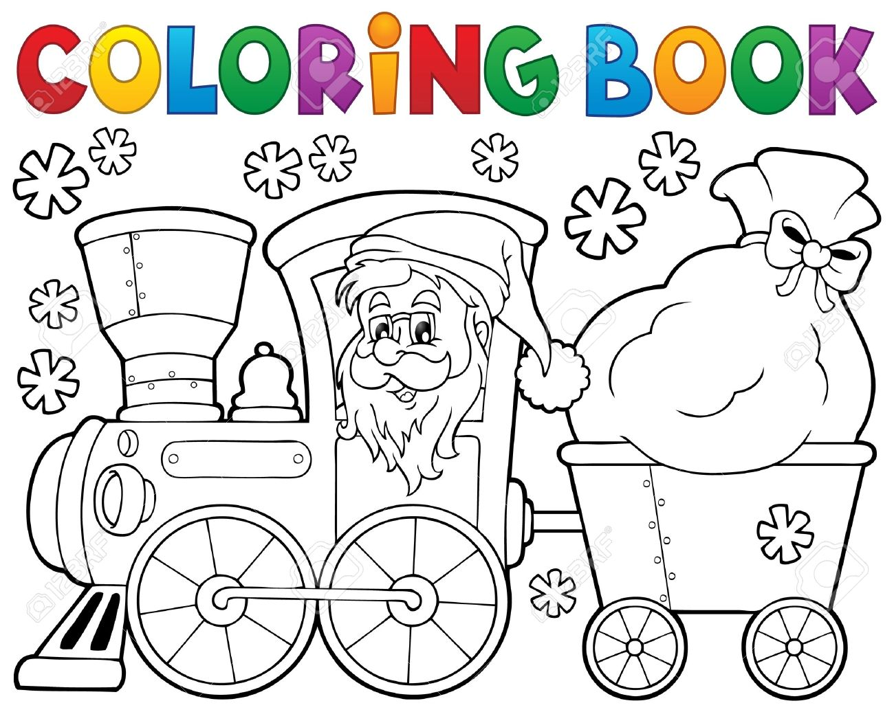 Coloring Book Christmas Train Stock Vector
