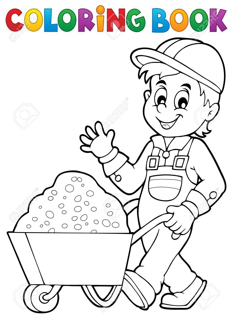Coloring Book Construction Worker 1 - Vector Illustration. Royalty ...