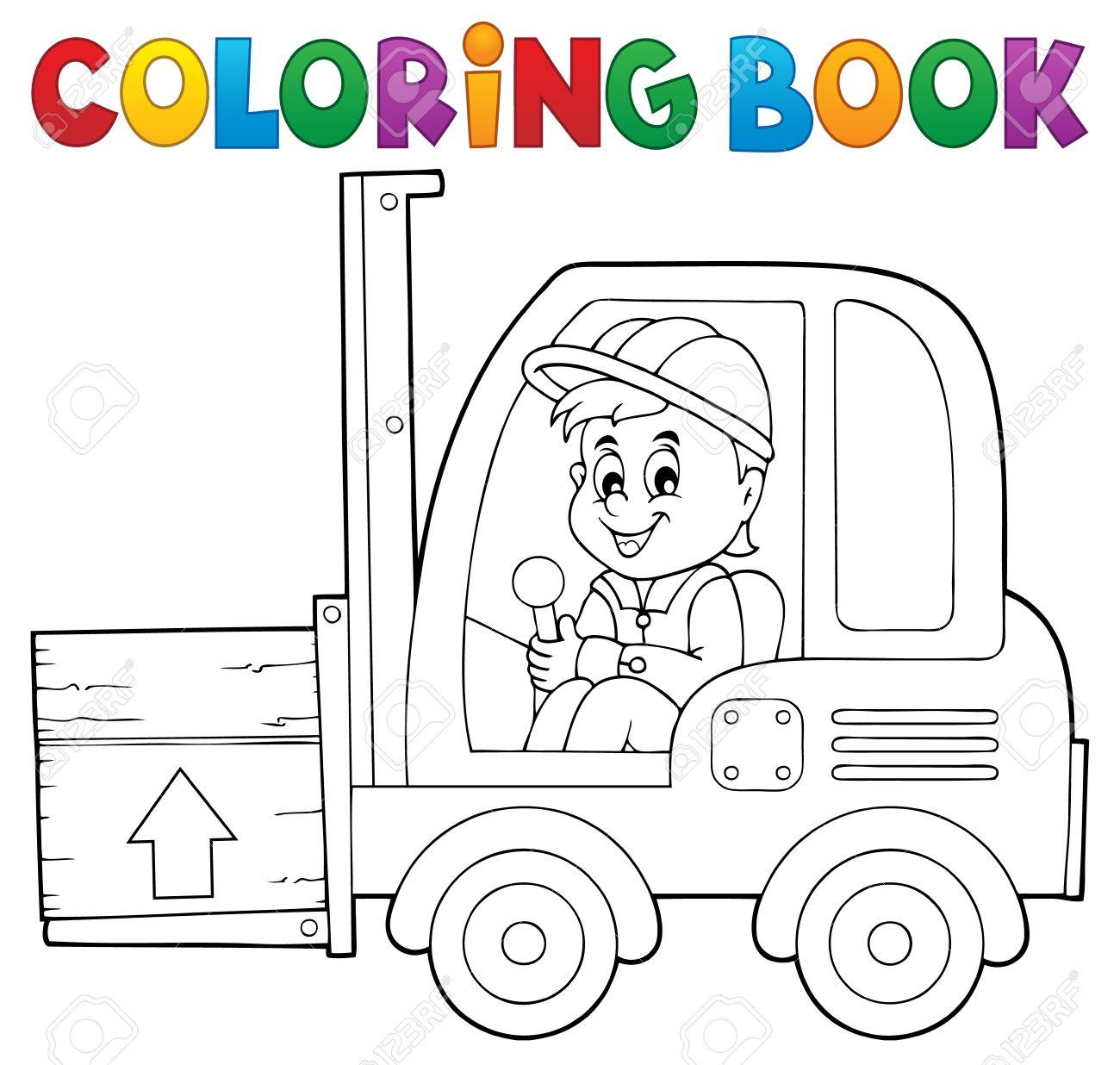 Libro Para Colorear Ascensor Tenedor Camión Tema 1 - Ilustración ...