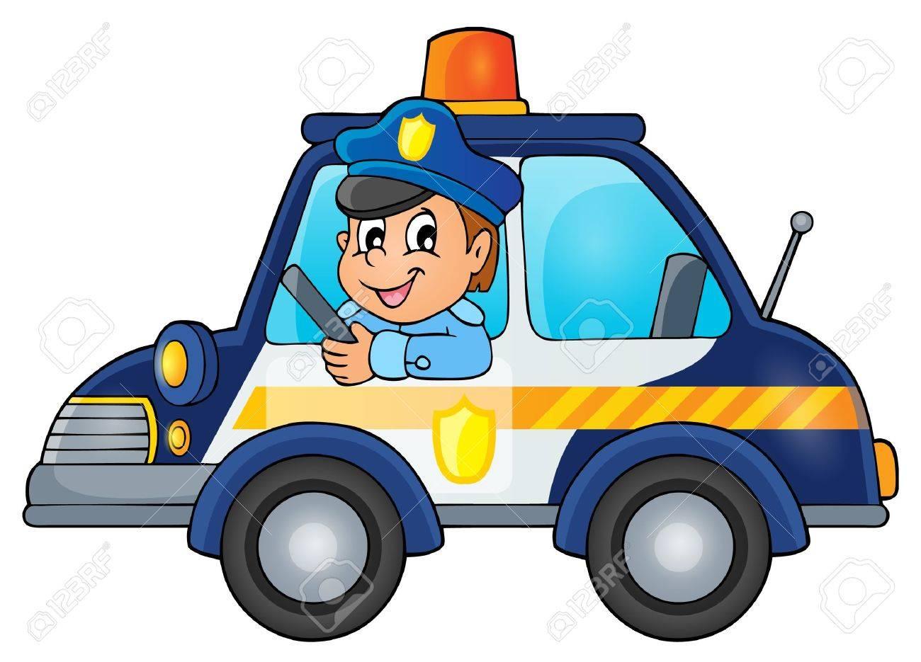 Police car theme image 1 - vector illustration. - 46608960