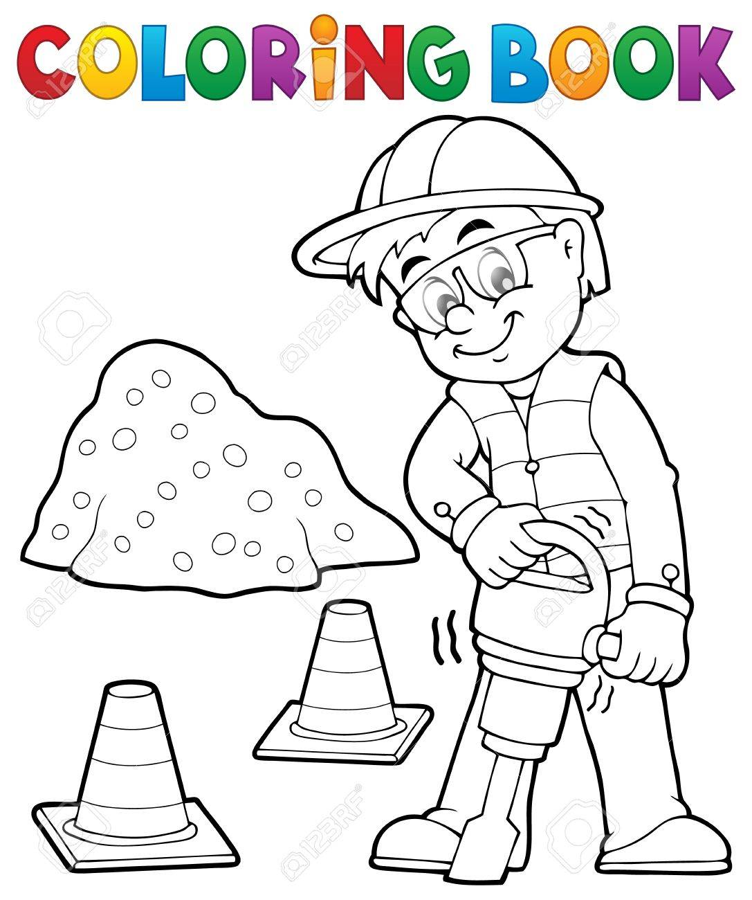 Coloring Book Construction Worker 3 - Vector Illustration. Royalty ...