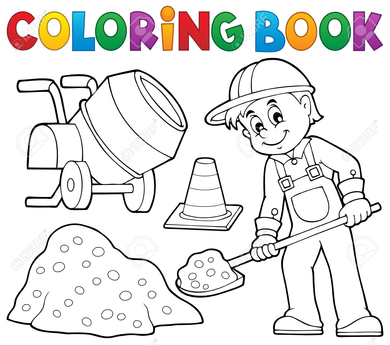 coloring book construction worker 2 vector illustration royalty