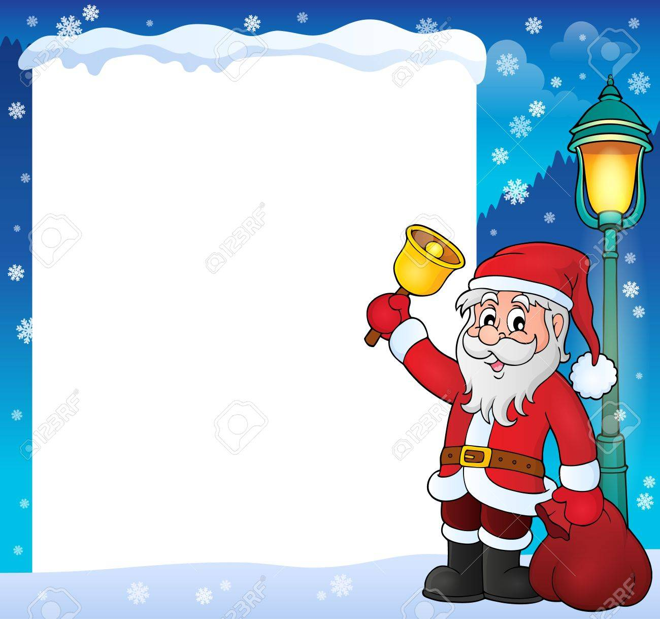 Santa Claus With Bell Theme Frame Vector Illustration
