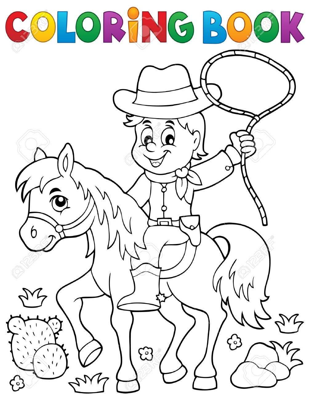 Libro Para Colorear Vaquero En El Tema Del Caballo Ilustración Vectorial