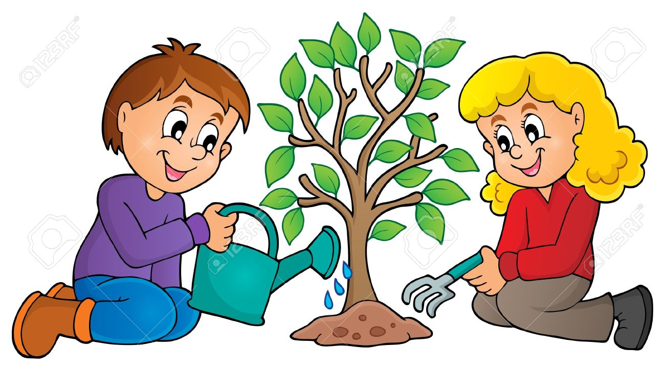 kids planting tree theme image 1 eps10 vector illustration rh 123rf com clipart planting trees planting clipart black and white