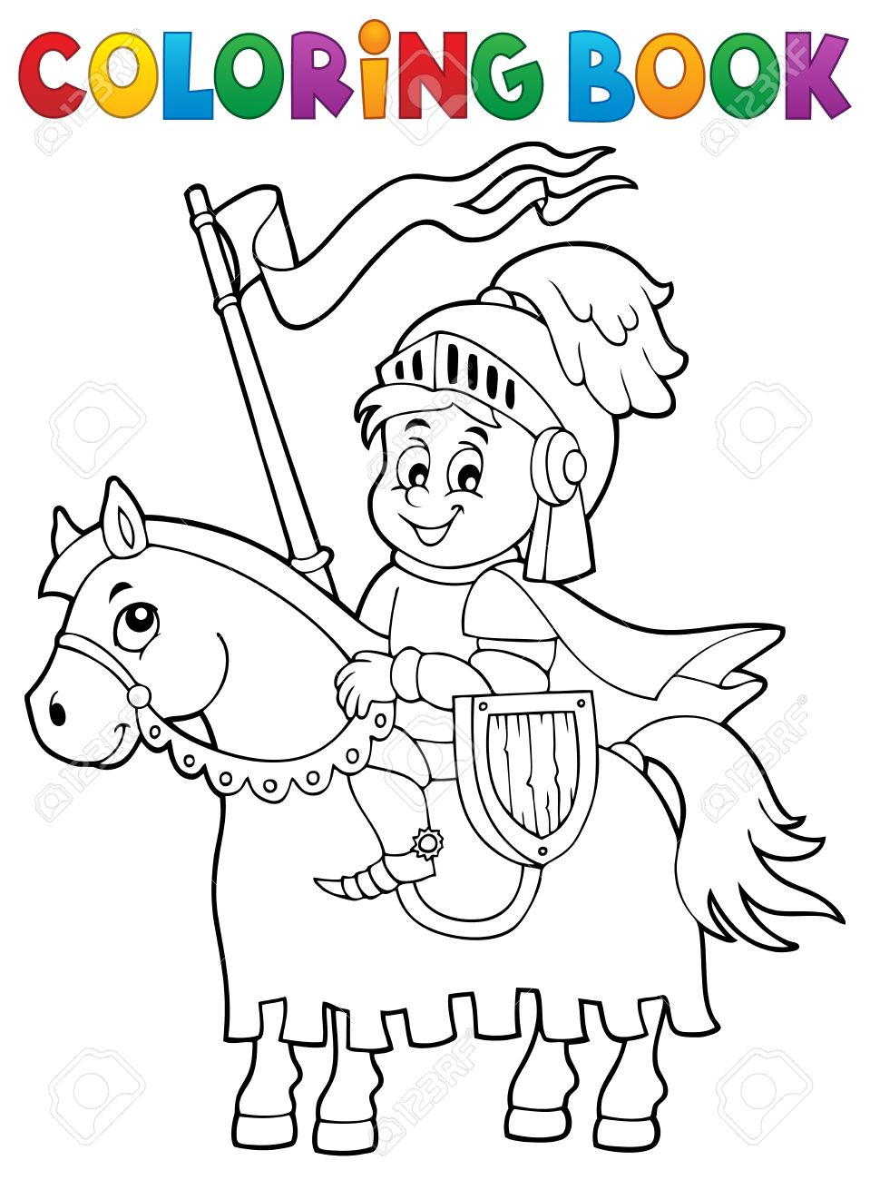 coloring book knight on horse theme 1 eps10 vector illustration
