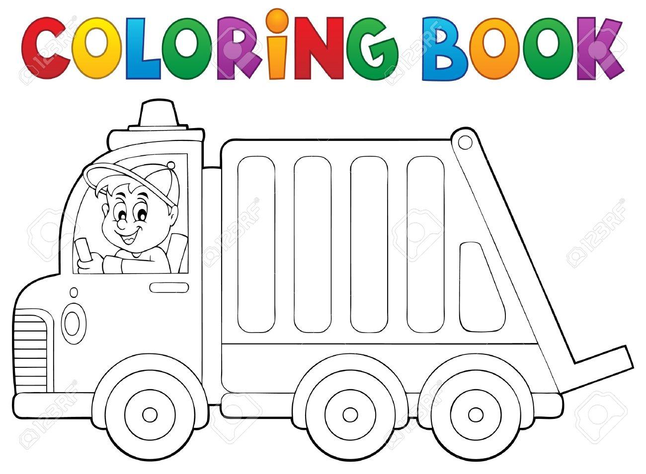 Libro Para Colorear Camión De Recogida De Basura - Ilustración ...