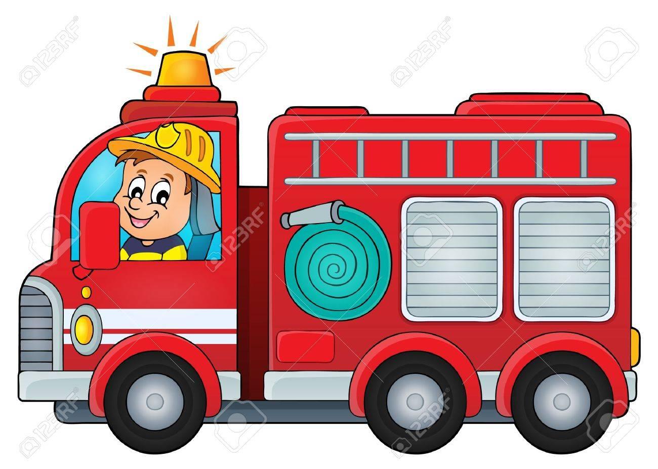 fire truck theme image vector illustration royalty free cliparts rh 123rf com fire truck clip art free downloads fire truck clip art free download