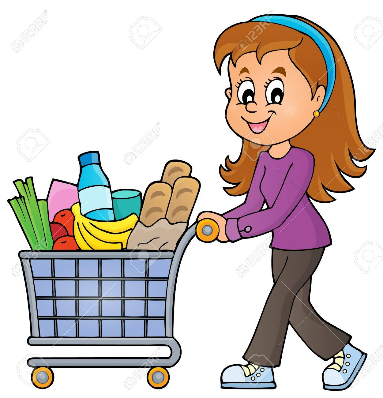 Woman with full shopping cart - eps10 vector illustration. - 50263241