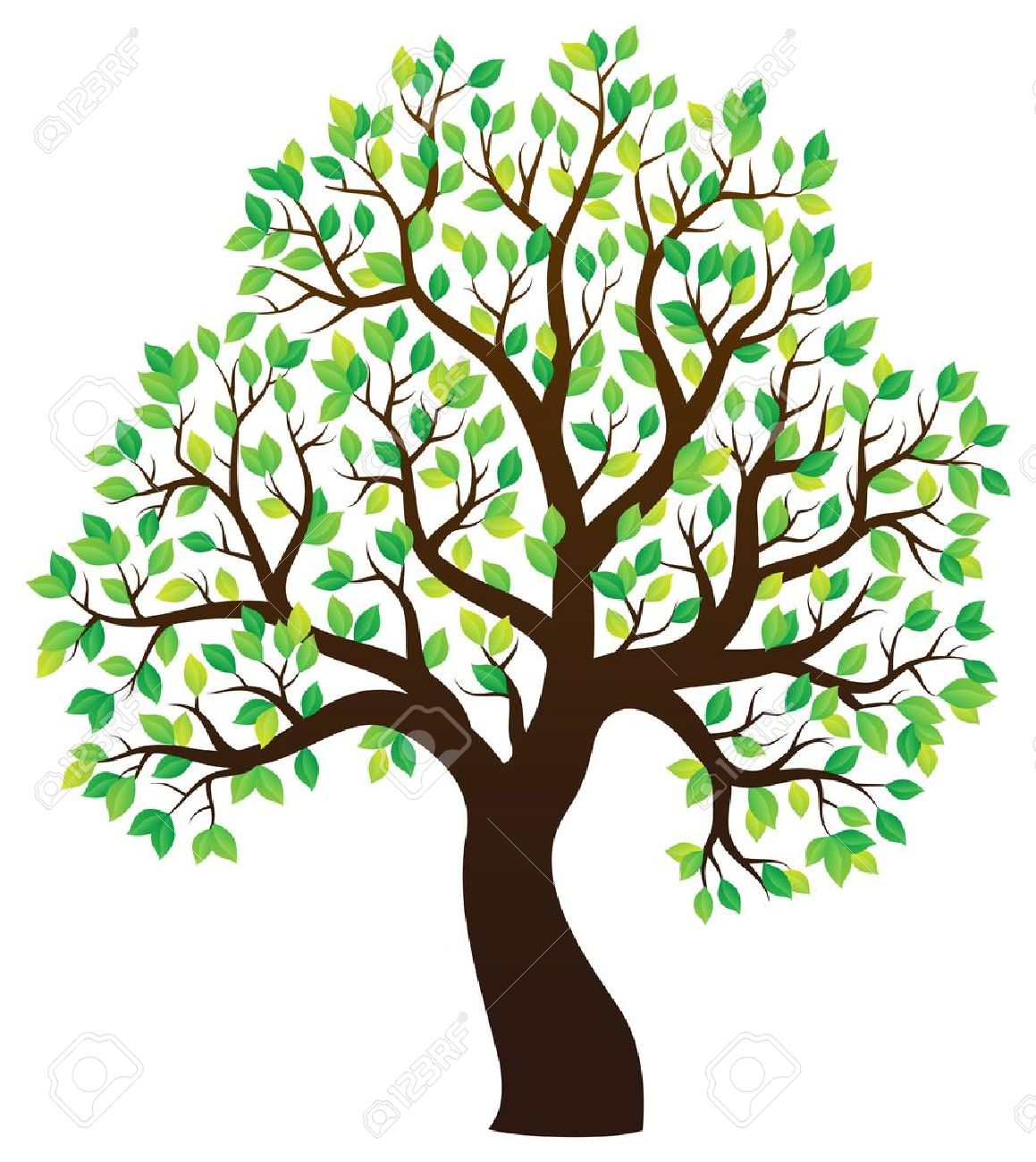 Silhouette of leafy tree theme 1 - eps10 vector illustration. Stock Vector - 50263270