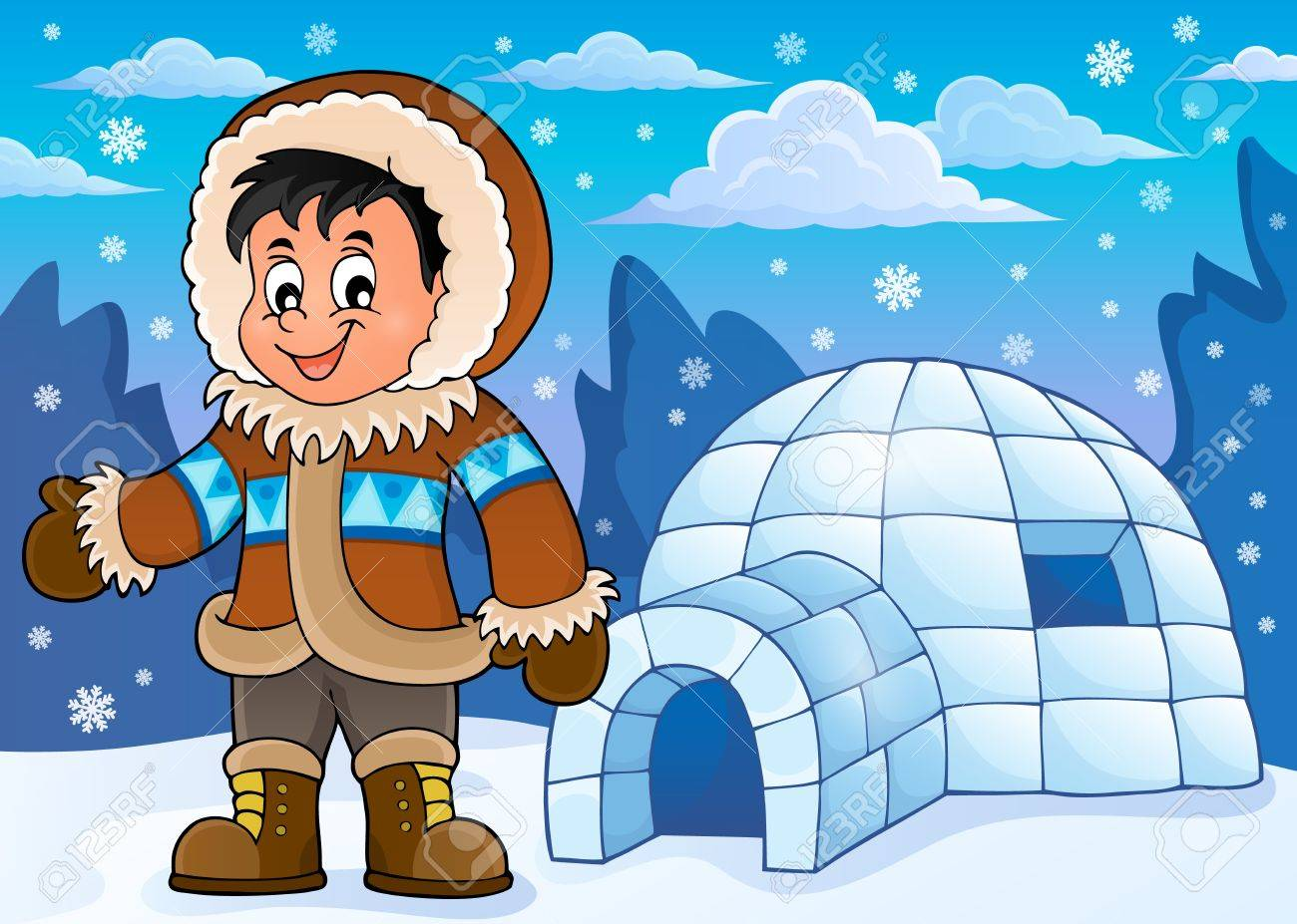 inuit theme image 2 vector illustration royalty free cliparts