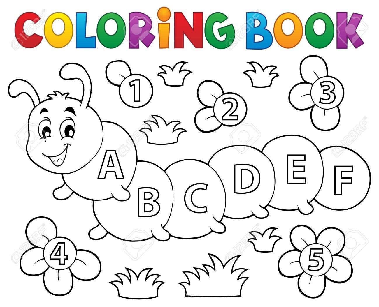 Libro Para Colorear Oruga Con Letras   Ilustración Vectorial