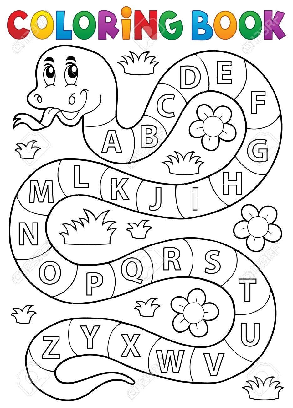 Coloriage serpent du livre avec le thème de l'alphabet   eps25 illustration  vectorielle.