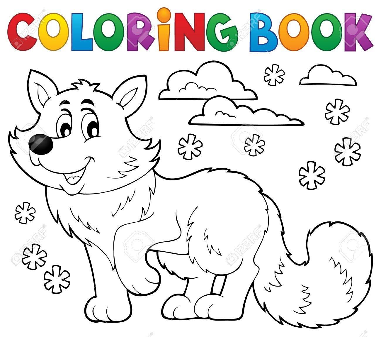 Libro Para Colorear Tema De Zorro Polar 1 - Ilustración Vectorial ...