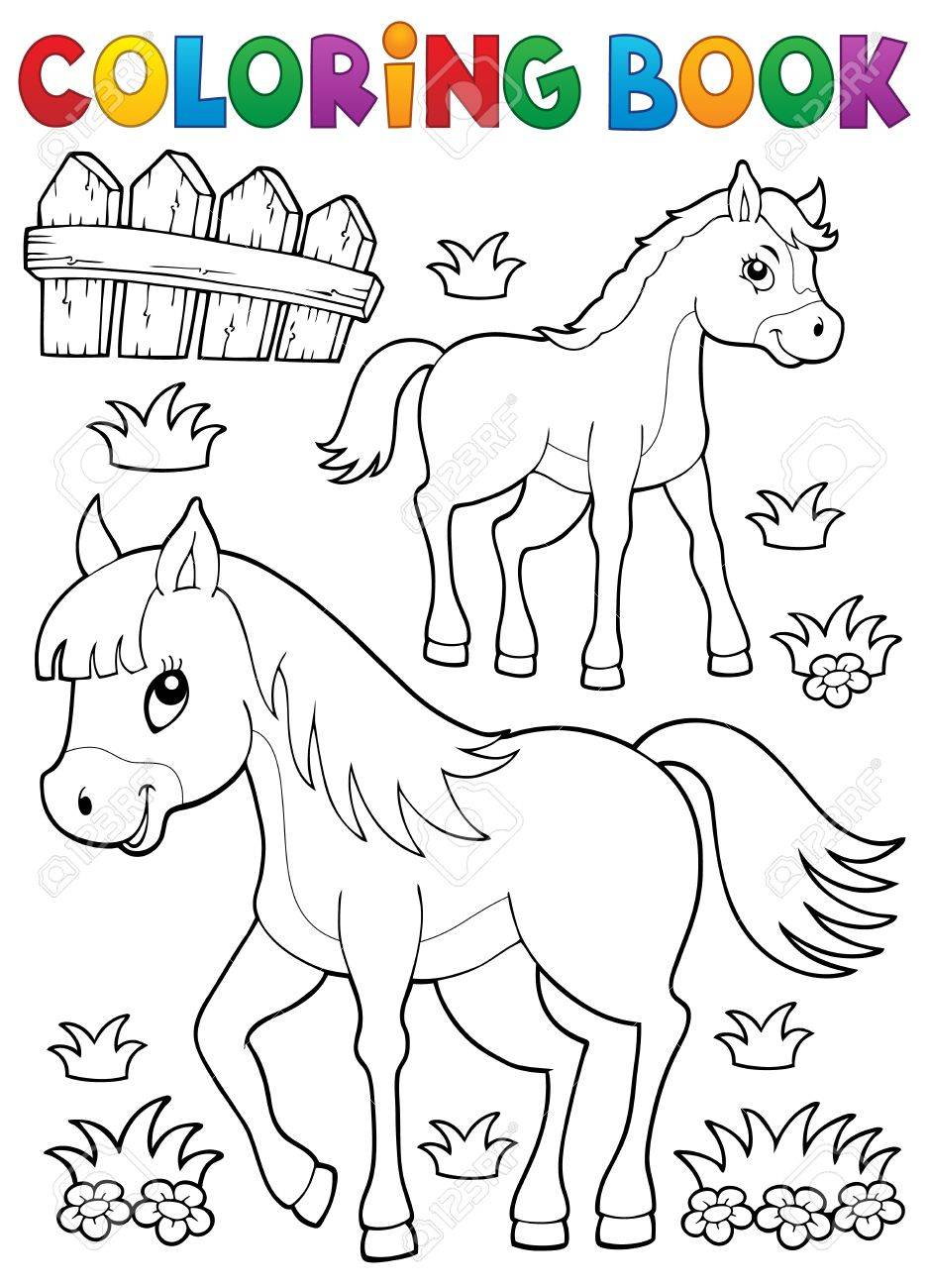 Coloriage Cheval De Livre Avec Le Theme De Poulain 1 Eps10 Illustration Vectorielle Clip Art Libres De Droits Vecteurs Et Illustration Image 52358848