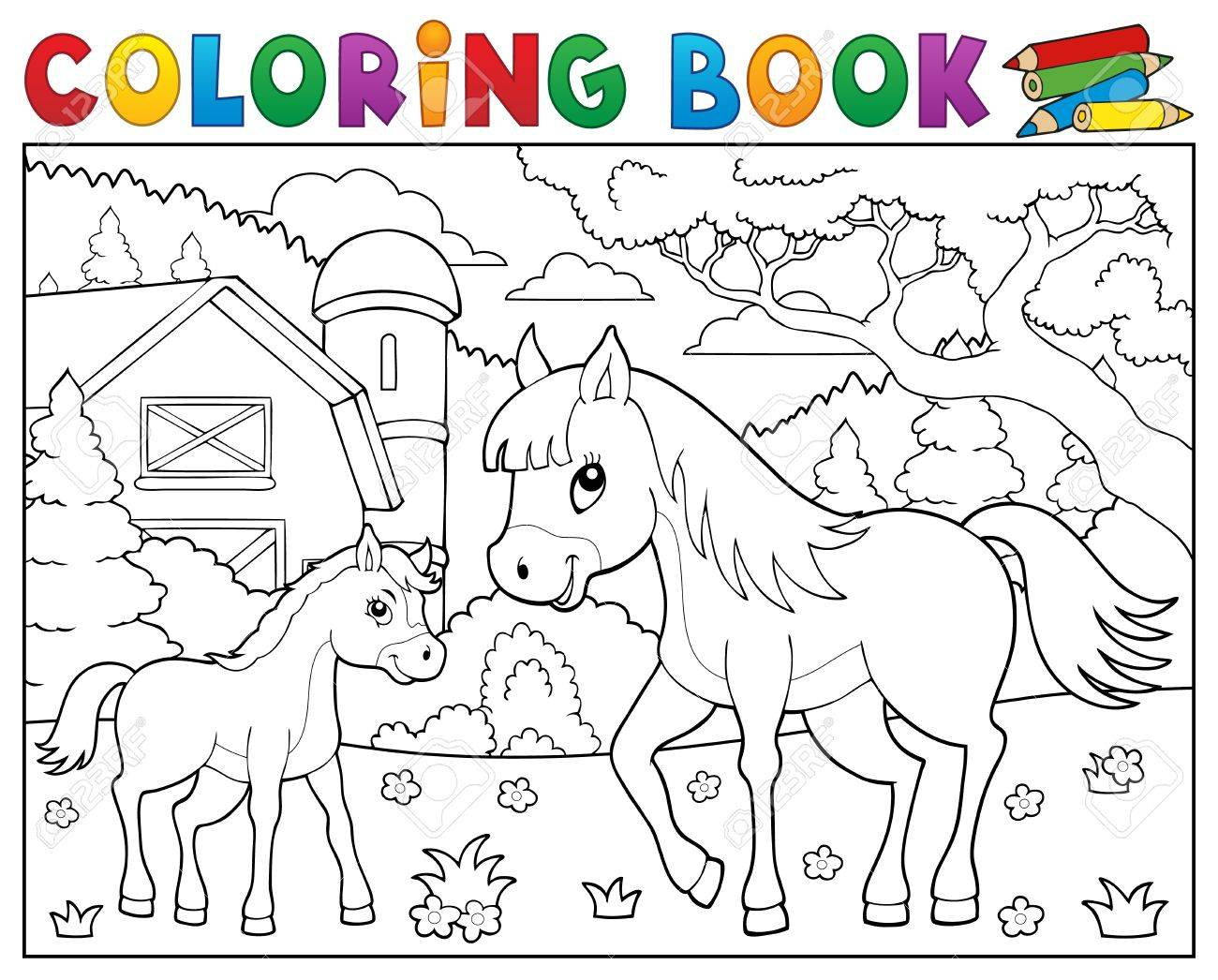 Coloring Book Horse With Foal Theme 2 - Eps10 Vector Illustration ...