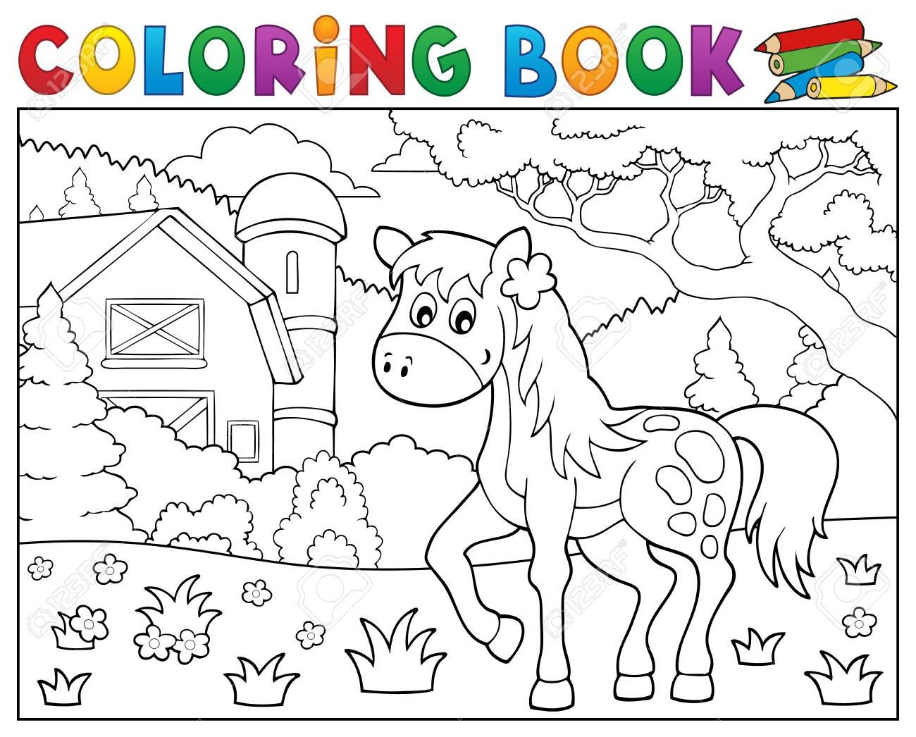 Coloriage cheval de livre près thème de la ferme 32   eps320 illustration  vectorielle.