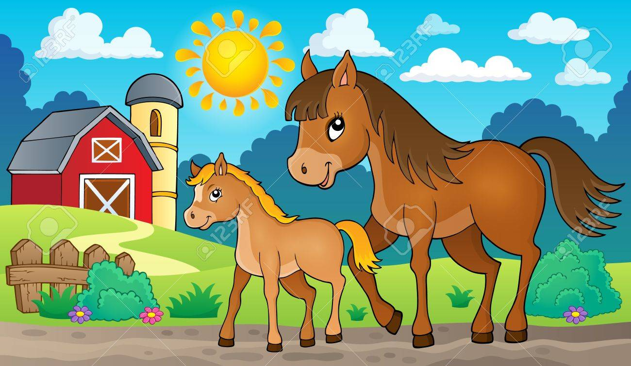 Horse with foal theme image 2 - eps10 vector illustration. - 52359241