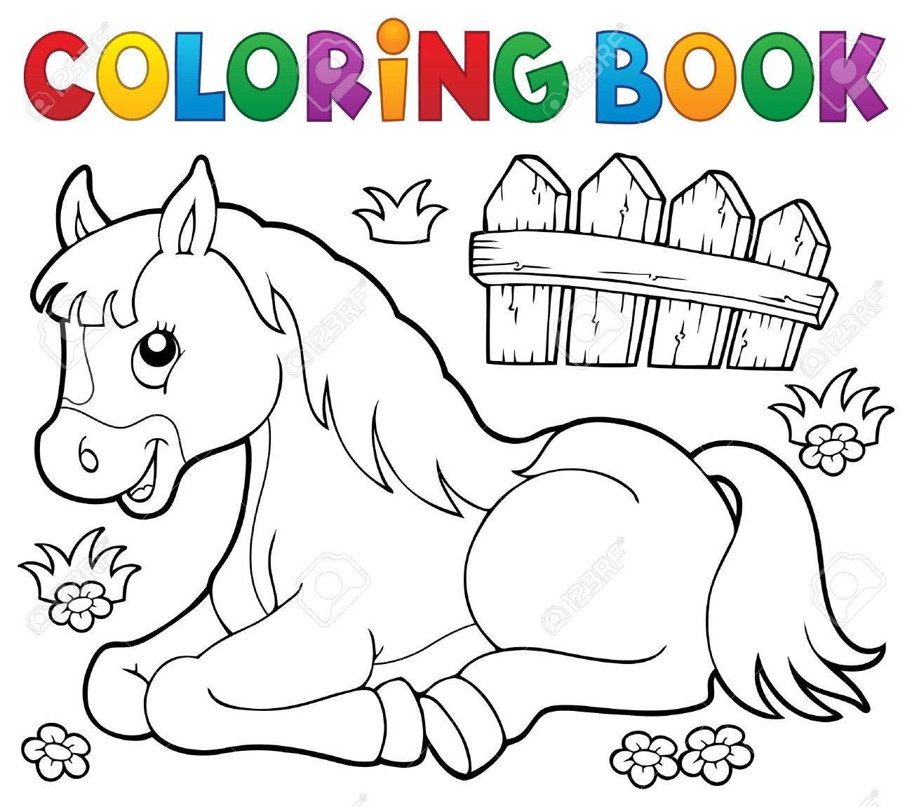 Libro Para Colorear Caballo Tema 1 - Ilustración Vectorial Eps10 ...