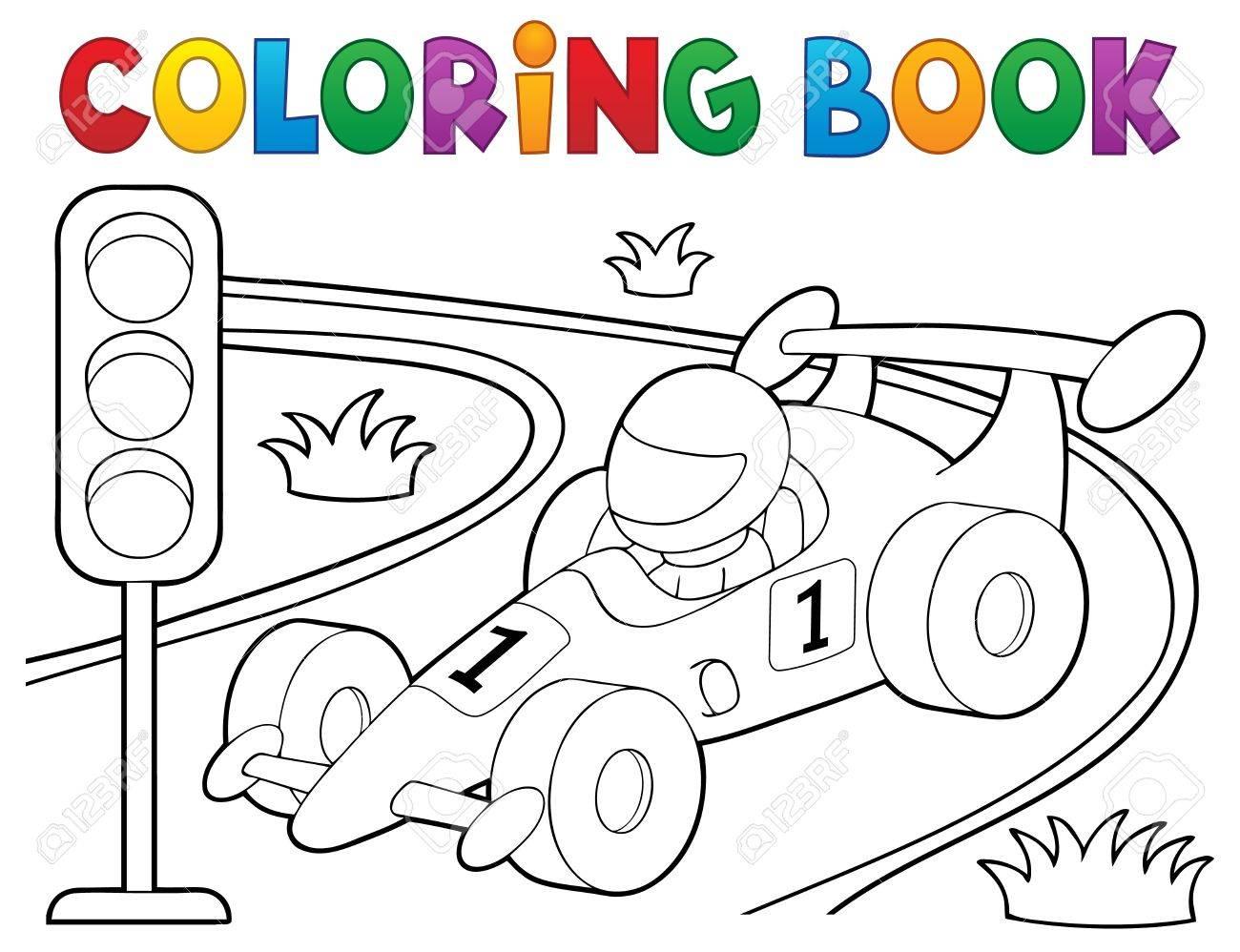 Colorear Tema Del Coche De Carreras De Libro 1 Ilustración Vectorial Eps10