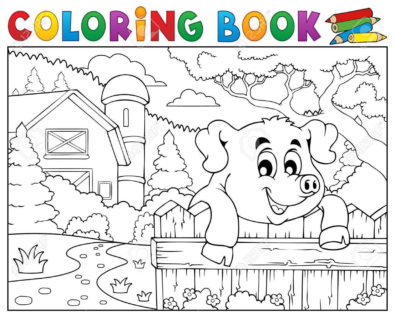 Coloriage Ferme Cochon.Coloriage Livre Cochon Derriere La Cloture Pres De La Ferme Clip