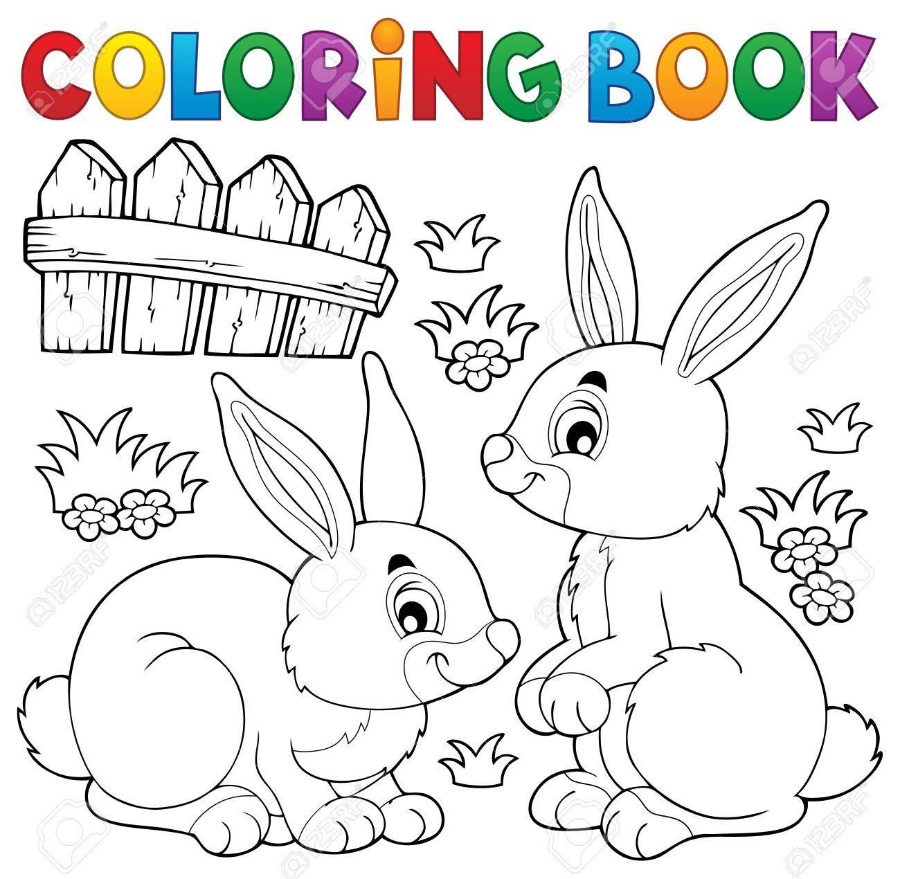 Coloring Book Rabbit Stock Vector