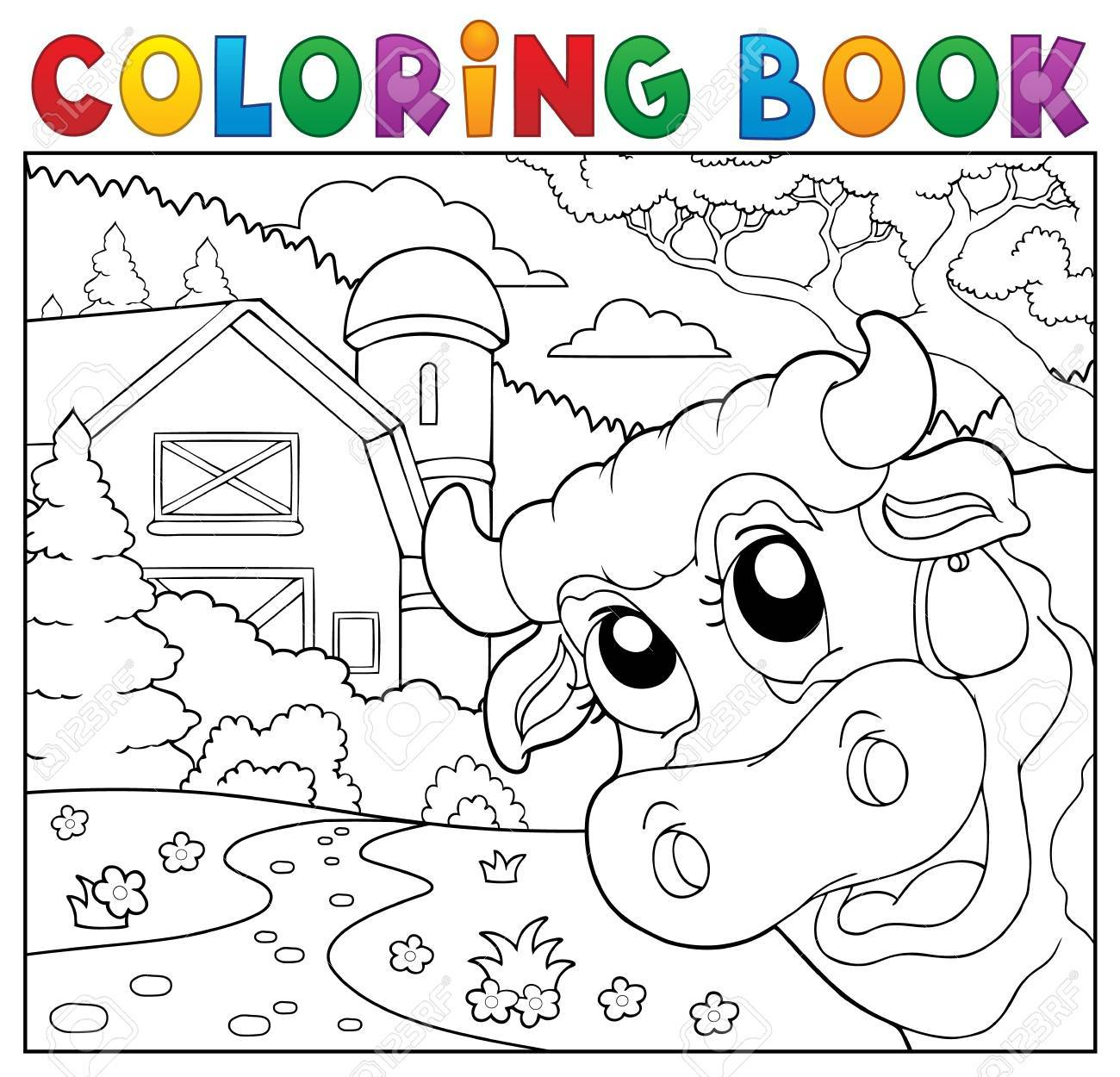 Coloring Book Lurking Cow Near Farm. Royalty Free Cliparts, Vectors ...