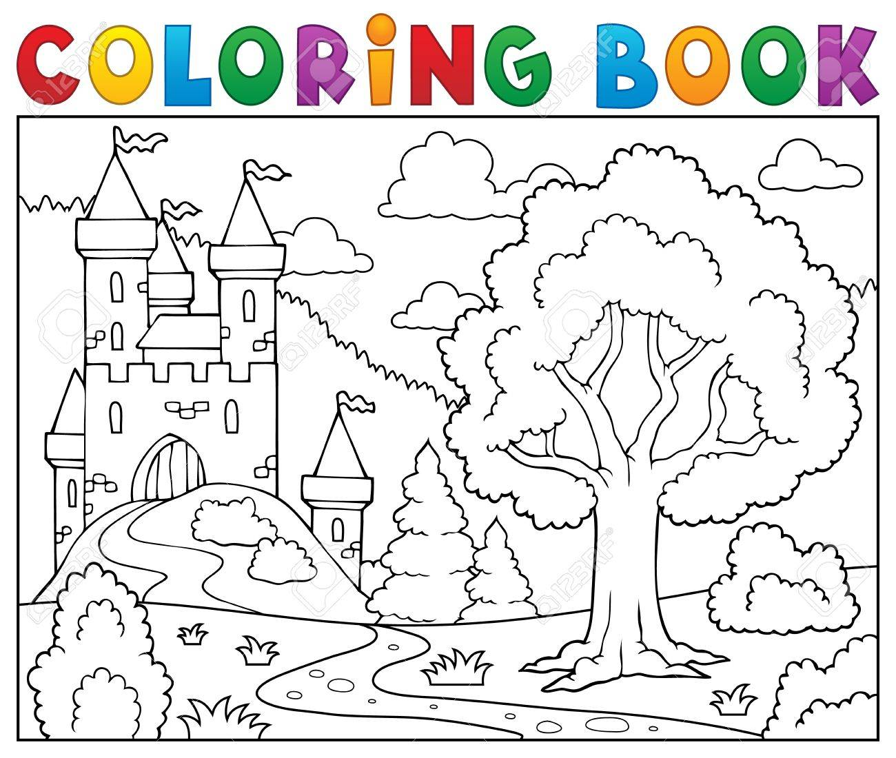 Coloring book castle and tree. - 53429580